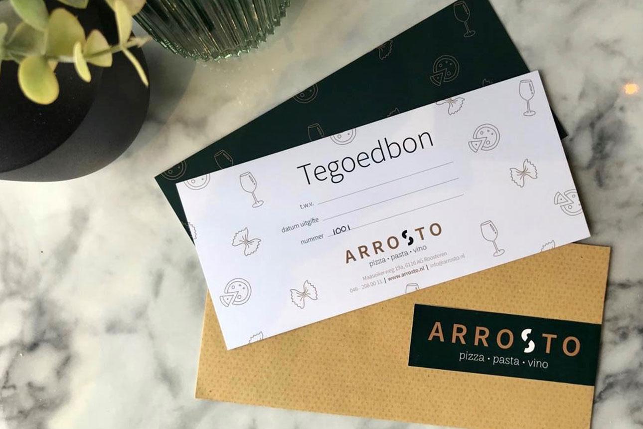 Arrosto, Giftcards, Kadobon / tegoedbon, voor heerlijk Italiaans uiteten in Roosteren